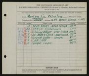 Entry card for Winslow, Morton G. for the 1932 May Show.