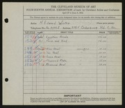 Entry card for Winter, H. Edward for the 1932 May Show.