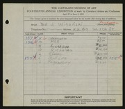 Entry card for Witonski, Theodore J. for the 1932 May Show.