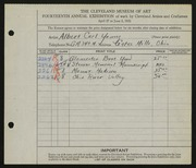 Entry card for Young, Albert Carl for the 1932 May Show.