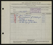 Entry card for Young, James H. for the 1932 May Show.