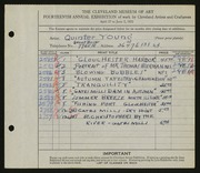 Entry card for Young, Jay Quinter for the 1932 May Show.