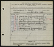 Entry card for Zuelch, Clarence E. for the 1932 May Show.