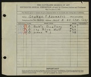 Entry card for Adomatis, George F. for the 1933 May Show.
