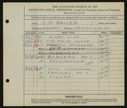 Entry card for Bailer, Sterling for the 1933 May Show.