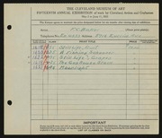 Entry card for Baker, F. C. for the 1933 May Show.