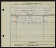 Entry card for Barkley, Maie Watkins for the 1933 May Show.