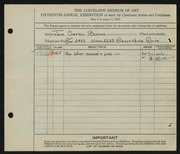 Entry card for Barron, Jane Carson for the 1933 May Show.