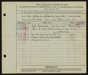 Entry card for Beckwith, Ada Bell for the 1933 May Show.