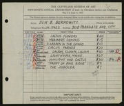 Entry card for Berkowitz, Benjamin B. for the 1933 May Show.