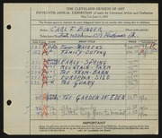 Entry card for Binder, Carl for the 1933 May Show.