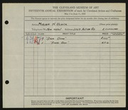 Entry card for Black, Miriam H. for the 1933 May Show.