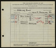 Entry card for Blazy, Sterling for the 1933 May Show.