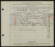 Entry card for Blazys, Alexander, and Dyer, Nora E. for the 1933 May Show.