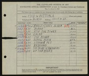 Entry card for Bottomer, Fred W. for the 1933 May Show.