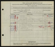 Entry card for Boza, Daniel for the 1933 May Show.