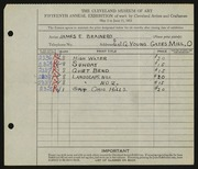 Entry card for Brainerd, James Eugene for the 1933 May Show.
