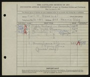 Entry card for Broemel, Carl William for the 1933 May Show.