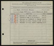 Entry card for Brooks, Mary Semour for the 1933 May Show.