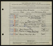 Entry card for Browne, George King for the 1933 May Show.
