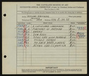 Entry card for Brucker, Edmund for the 1933 May Show.