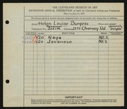 Entry card for Burgess, Helen Louise for the 1933 May Show.