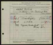 Entry card for Busch, Hans for the 1933 May Show.