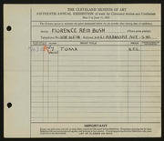 Entry card for Bush, Florence Reid for the 1933 May Show.
