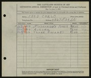 Entry card for Carlo, Fred C.  for the 1933 May Show.