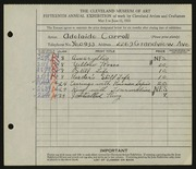 Entry card for Carroll, Adelaide for the 1933 May Show.