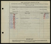 Entry card for Cass, Katherine Dorn for the 1933 May Show.