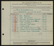 Entry card for Chamberlin, Price Albert for the 1933 May Show.