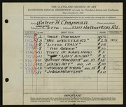 Entry card for Chapman, Walter H. for the 1933 May Show.