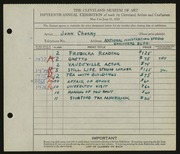Entry card for Cherry, John Terrance for the 1933 May Show.