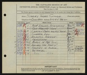 Entry card for Clough, Stanley T. for the 1933 May Show.