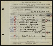 Entry card for Clough, Thomas for the 1933 May Show.