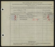 Entry card for Coe, Charles Martin for the 1933 May Show.