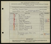 Entry card for Collins, Mary Susan for the 1933 May Show.