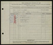 Entry card for Conrad, William H. for the 1933 May Show.