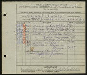 Entry card for Cramer, Miriam E. for the 1933 May Show.