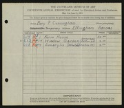 Entry card for Cunningham, Mary Phillips for the 1933 May Show.
