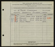 Entry card for Cunningham, William Phelps for the 1933 May Show.