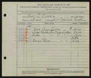 Entry card for Curtis, Mary C. Hatch for the 1933 May Show.