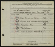 Entry card for Dale, Stanley for the 1933 May Show.