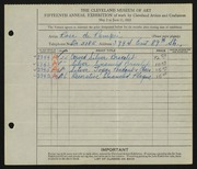 Entry card for De Pompei, Rosa for the 1933 May Show.