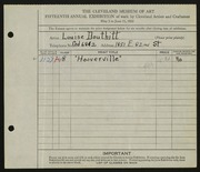 Entry card for Douthitt, Louise for the 1933 May Show.