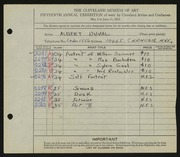Entry card for Duval, Albert D. for the 1933 May Show.
