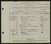 Entry card for Eckhard, Edris for the 1933 May Show.