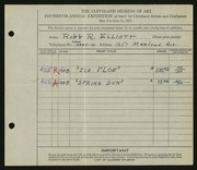Entry card for Elliott, Robb R. for the 1933 May Show.