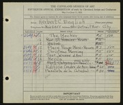 Entry card for English, Herbert C. for the 1933 May Show.
